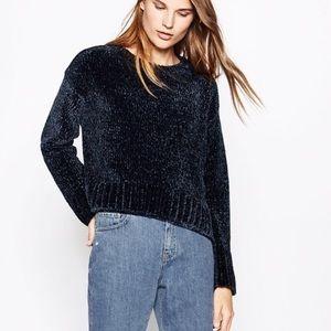 Zara Navy Velvet Sweater